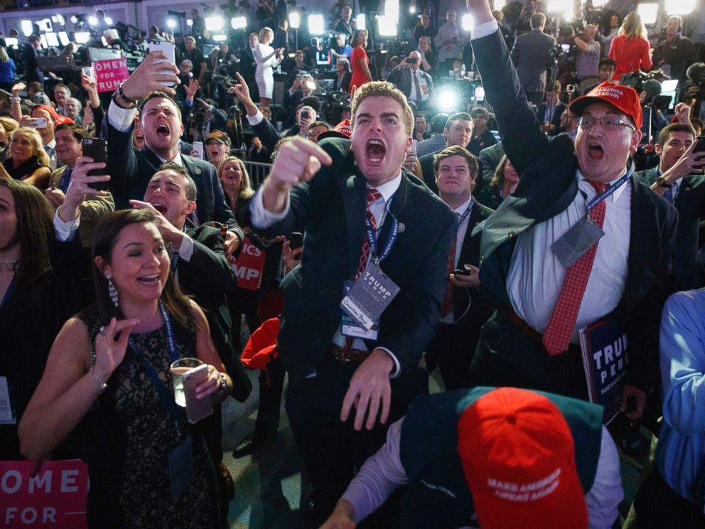 PHOTO: Supporters of Donald Trump cheer as they watch election returns, Nov. 8, 2016, in New York.