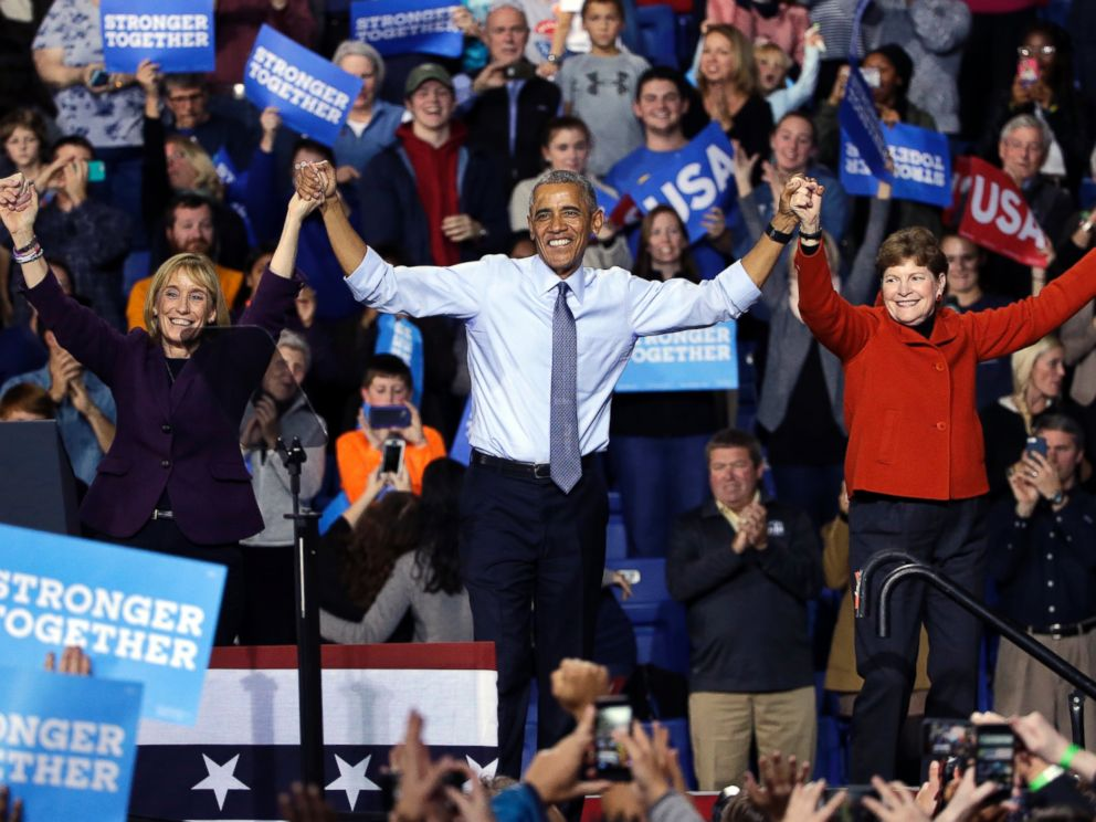 PHOTO: President Barack Obama clasps hands with Democratic candidate for senator Maggie Hassan and Sen. Jeanne Shaheen at an event for Democratic presidential candidate Hillary Clinton at the University of New Hampshire, Nov. 7, 2016, in Durham, N.H.