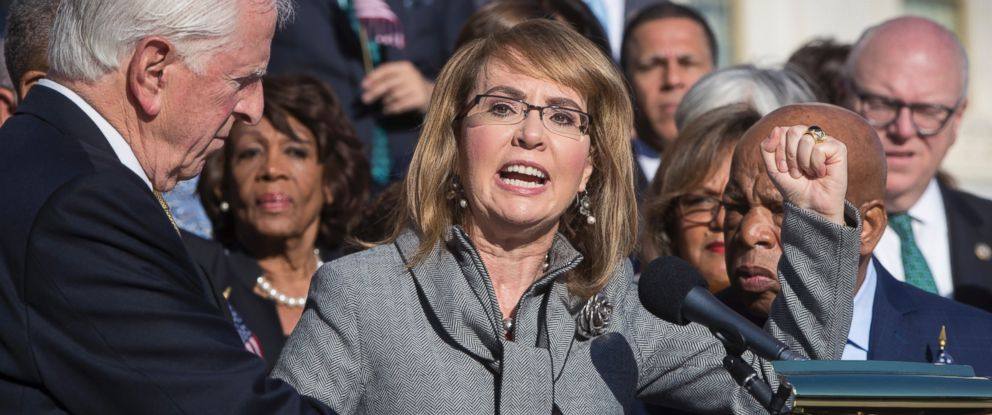 Former Rep. Gabby Giffords of Arizona who survived an assassination attempt in 2011, joins Democrats in a call for action on gun safety Wednesday morning after the deadly mass shooting in Las Vegas, at the Capitol in Washington, Wednesday, Oct. 4, 2017.