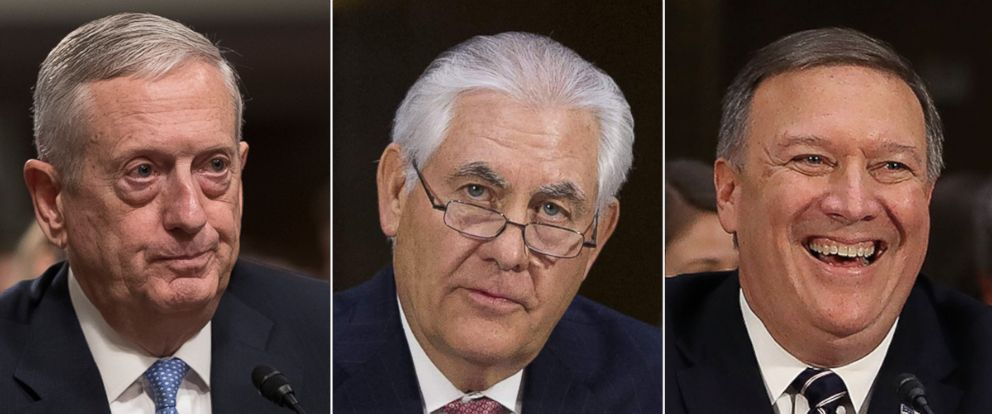 PHOTO: James Mattis prepares to testify, Jan. 12, 2017, at his confirmation hearing. Rex Tillerson testifies in Washington, Jan. 11, 2017. Mike Pompeo attends his confirmation hearing, Jan. 12, 2017 in Washington.