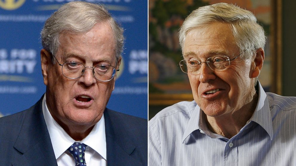 koch brothers taking on trump with free trade campaign abc news
