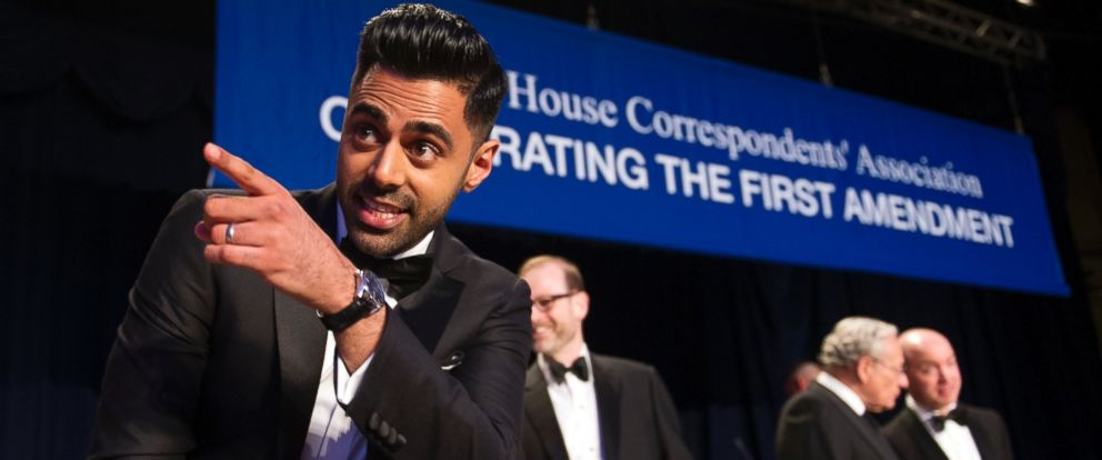 PHOTO: The Daily Show correspondent Hasan Minhaj stands at the head table during the White House Correspondents Dinner in Washington, D.C., April 29, 2017.