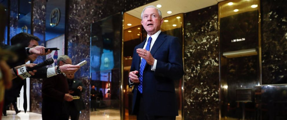 PHOTO: Sen. Jeff Sessions speaks to media at Trump Tower in New York on Nov. 17, 2016.