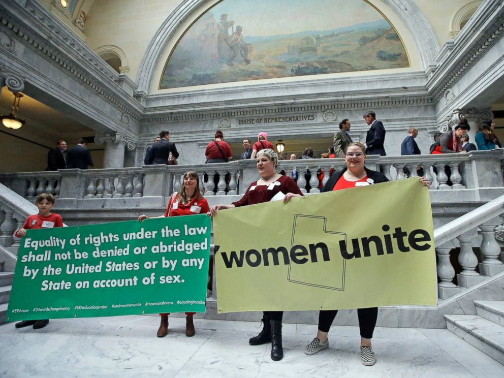 PHOTO: Women protests outside the House of Representatives at the Utah state capitol for a Day Without a Woman protest to remind legislators theyre closely watching how they handle womens issues Wednesday, March 8, 2017, in Salt Lake City.
