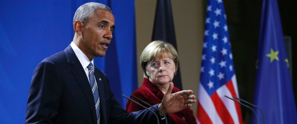 PHOTO: President Barack Obama and German Chancellor Angela Merkel hold a news conference in Berlin, Nov. 17, 2016.