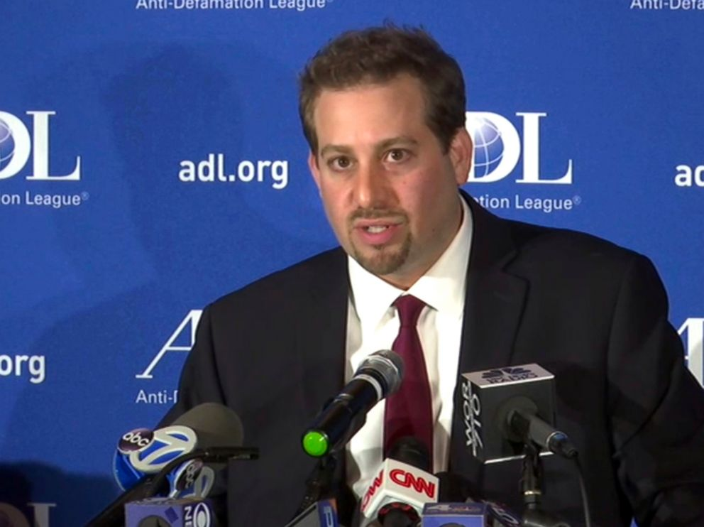 In this image taken from video, Oren Segal, Co-Director of the Anti-Defamation Leagues Center on Extremism, addresses the media at a news conference at ADL Headquarters in New York, Friday, March 3, 2017.