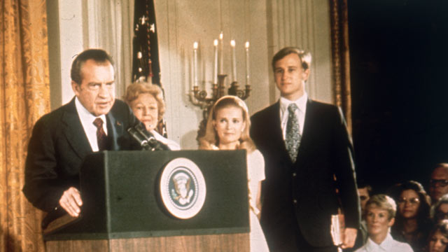 PHOTO: American politician Richard Nixon at the White House with his family after his resignation as President, August 9, 1974.