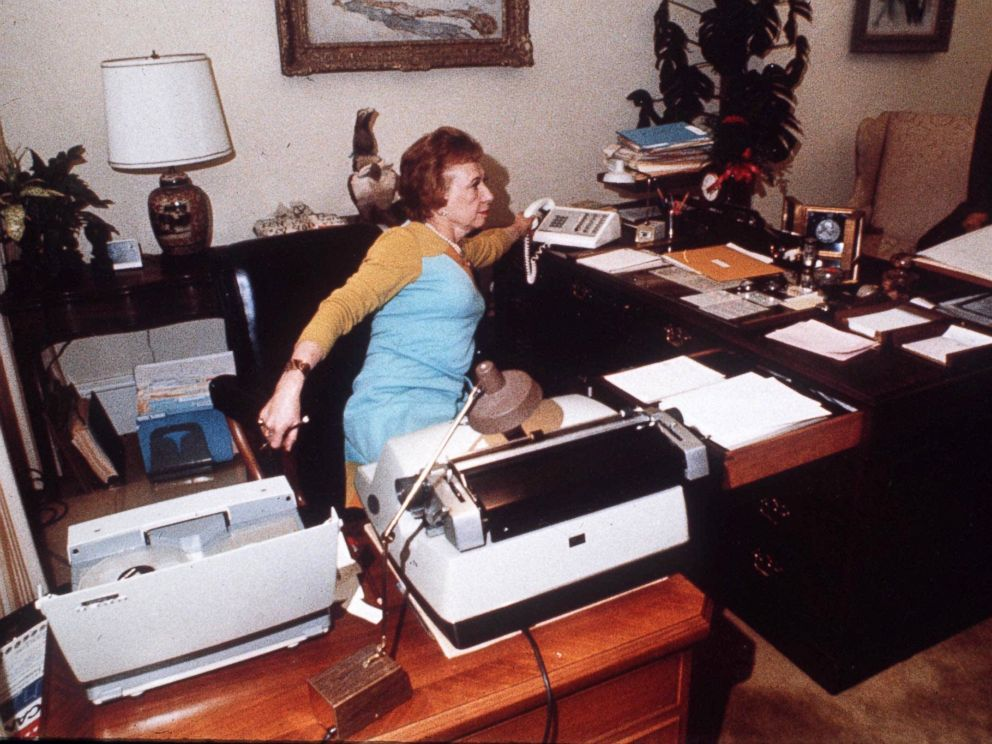 PHOTO: Rose Mary Woods, President Richard Nixons secretary at her White House desk, demonstrates the Rose Mary Stretch which could have resulted in the erasure of part of the Watergate tapes, 1973.