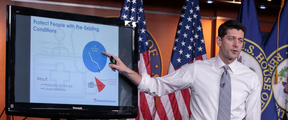 PHOTO: House Speaker Paul Ryan of Wis. uses charts and graphs to make his case for the GOPs long-awaited plan to repeal and replace the Affordable Care Act, March 9, 2017, during a news conference on Capitol Hill.