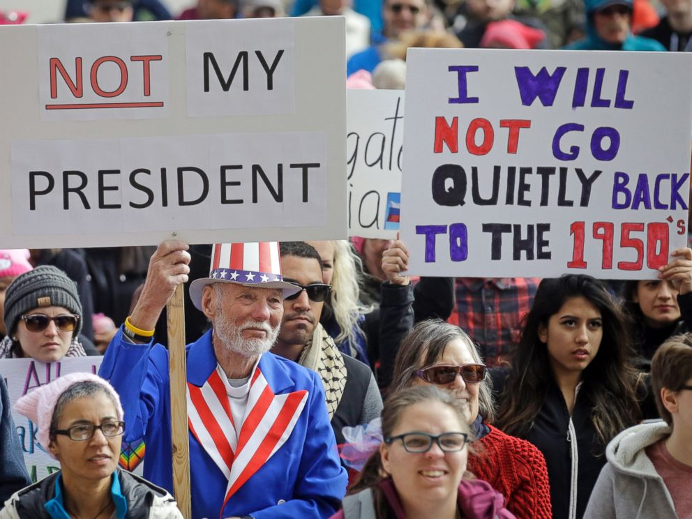 PHOTO: Demonstrators hold a rally, Feb. 20, 2017, in Salt Lake City. The rally is one of several Not My Presidents Day protests planned across the country to mark the Presidents Day holiday.