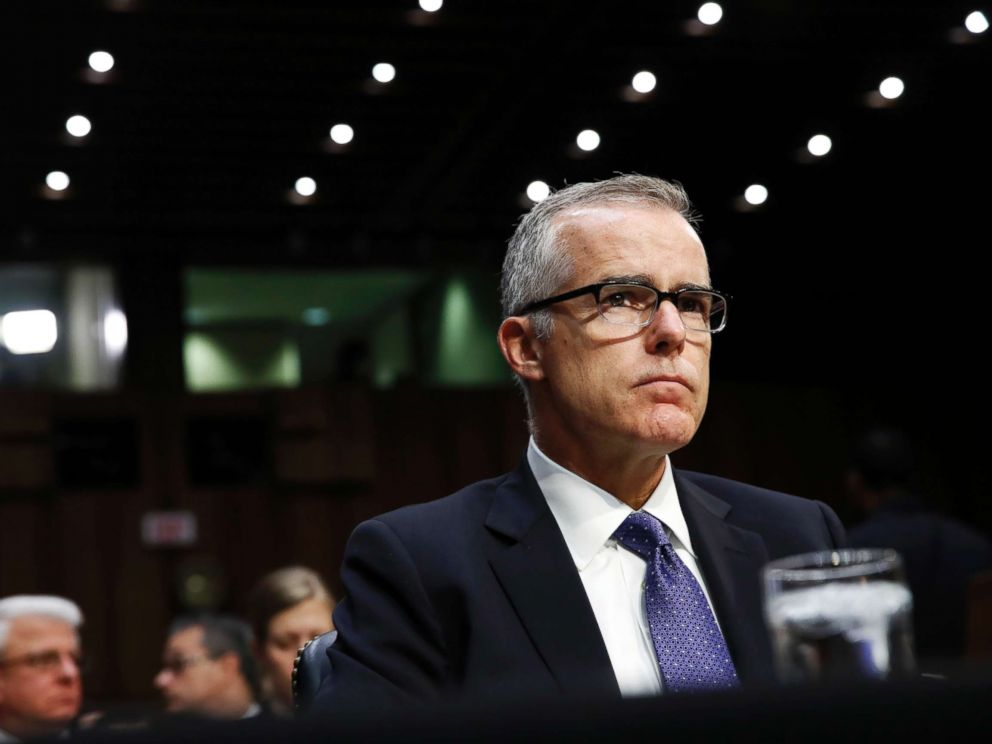 PHOTO: Acting FBI Director Andrew McCabe listens on Capitol Hill, May 11, 2017, during the Senate Intelligence Committee hearing on major threats facing the U.S.