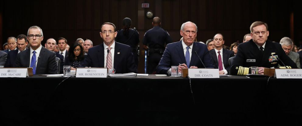 PHOTO: Andrew McCabe, Rod Rosenstein, Dan Coats, and Adm. Michael Rogers attend a Senate Intelligence Committee hearing about the Foreign Intelligence Surveillance Act, June 7, 2017, in Washington, D.C.