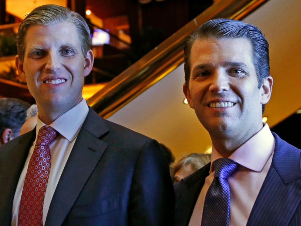 PHOTO: Eric Trump and Donald Trump Jr., executive vice presidents of The Trump Organization, pose for a photograph at an event for Scion Hotels, a division of Trump Hotels, June 5, 2017, in New York.