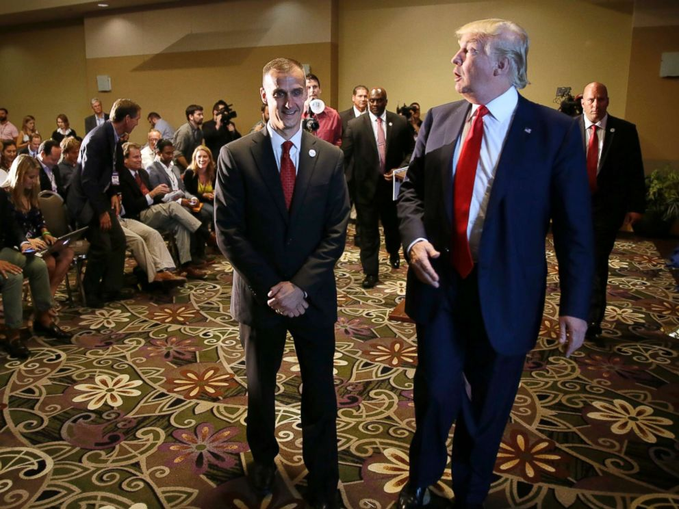 PHOTO: Republican presidential candidate Donald Trump leaves with his campaign manager Corey Lewandowski after giving a news conference in Dubuque, Iowa, Aug. 25, 2015.