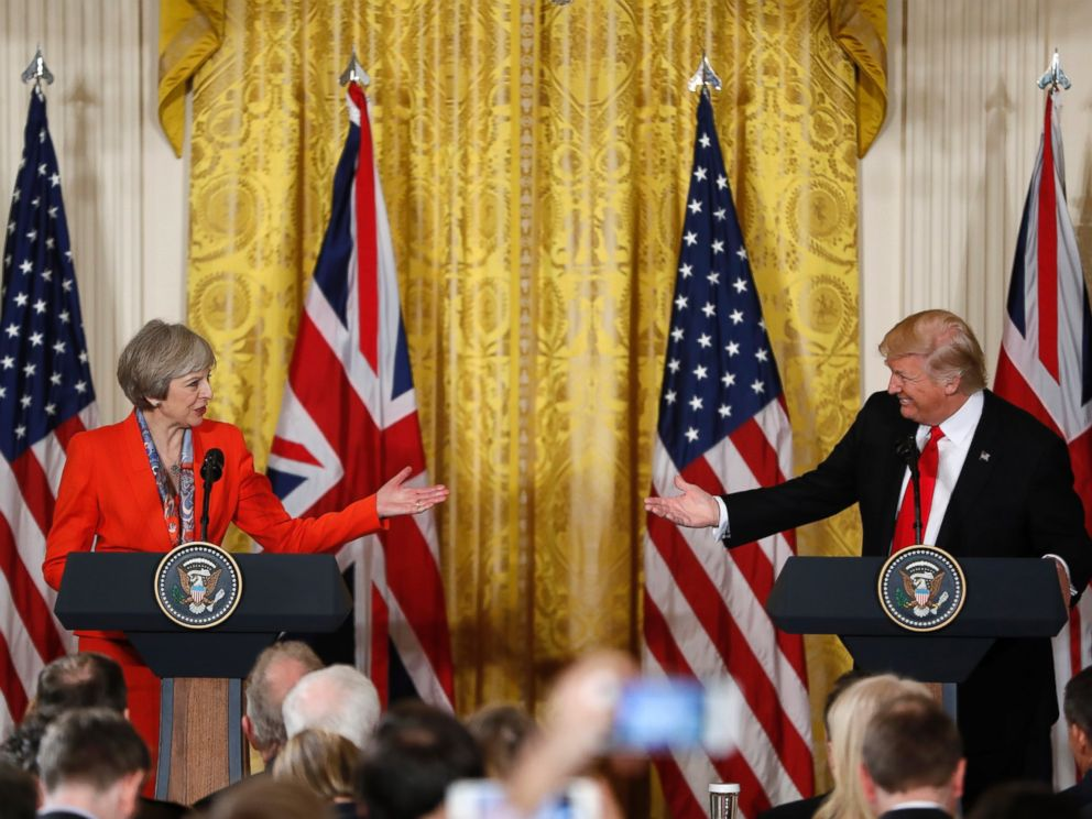 PHOTO: President Donald Trump and British Prime Minister Theresa May participate in a news conference in the East Room of the White House in Washington, Jan. 27, 2017.