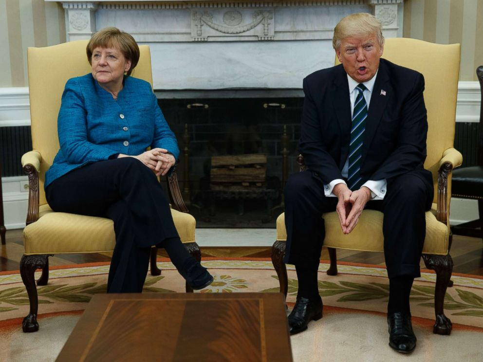 PHOTO: President Donald Trump meets with German Chancellor Angela Merkel in the Oval Office of the White House in Washington, March 17, 2017.