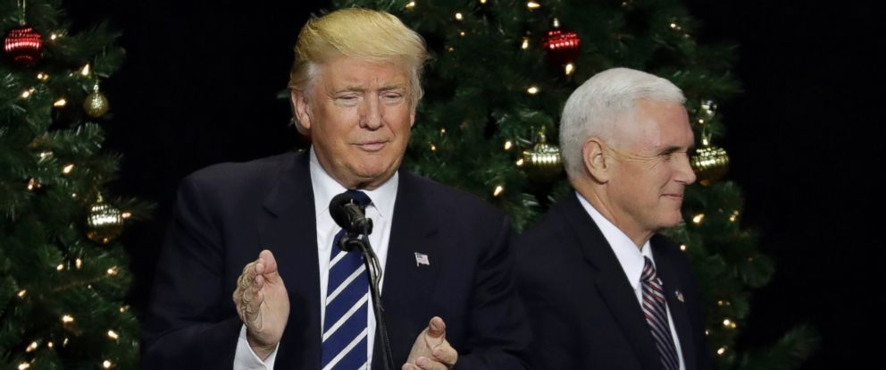 PHOTO: President-elect Donald Trump is introduced by vice president-elect Mike Pence at a rally, Dec. 13, 2016, in West Allis, Wisconsin.