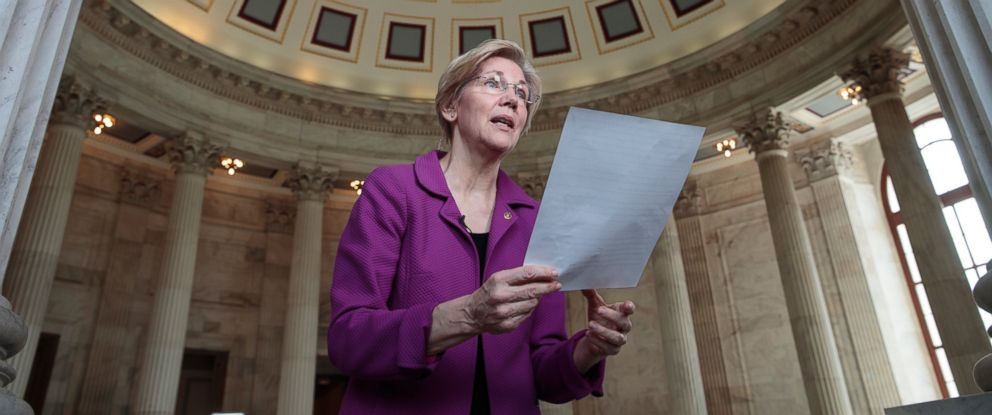 PHOTO: Holding a transcript of her speech in the Senate Chamber, Sen. Elizabeth Warren reacts to being rebuked by the Senate leadership and accused of impugning a fellow senator,Feb. 8, 2017, on Capitol Hill in Washington.