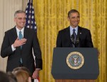 PHOTO: President Barack Obama, with current White House Chief of Staff Jack Lew, right, announces that he will name current Deputy National Security Adviser Denis McDonough,left, as his next chief of staff pn Jan. 25, 2013, in the East Room of the White H
