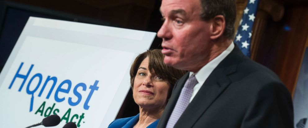 PHOTO: Sens. Amy Klobuchar, D-Minn., and Mark Warner, D-Va., conduct a news conference in the Capitol on the Honest Ads Act which aims to make online political ads more transparent on October 19, 2017.