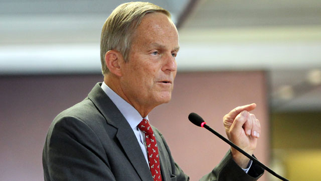 PHOTO: This Aug. 10, 2012 file photo shows Todd Akin, Republican, candidate for U.S. Senator from Missouri, speaks at the Missouri Farm Bureau candidate interview and endorsement meeting in Jefferson City, Mo.