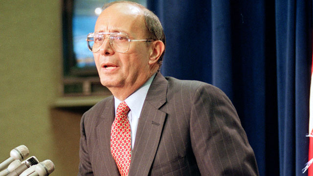 PHOTO: Sen. Alfonse D'Amato, R-N.Y., leans against the podium as he speaks to reporters on Capitol Hill, Oct. 7, 1992, ending his 15-hour filibuster.