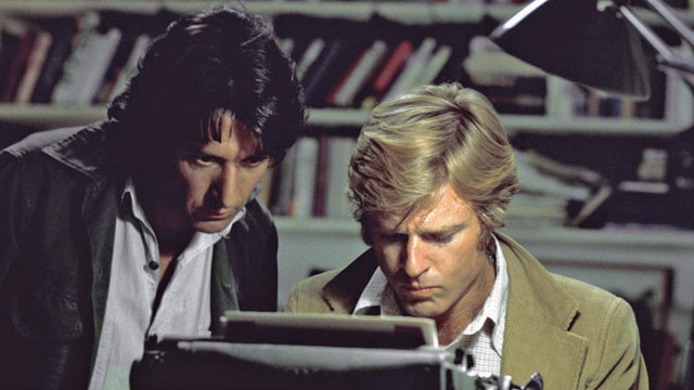 """PHOTO: Robert Redford, right, and Dustin Hoffman appear in their roles as reporters Bob Woodward and Carl Bernstein, respectively, in the 1976 film """"All the President's Men."""""""