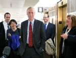 PHOTO: Sen.-elect Angus King, I-Maine, center, the former governor of Maine, arrives on Capitol Hill in Washington, Nov. 13,2012.