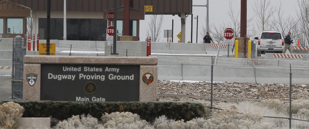 PHOTO: A Jan. 27, 2010 file photo shows the main gate at Dugway Proving Ground military base, about 85 miles southwest of Salt Lake City, Utah.
