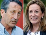 PHOTO: Former South Carolina Gov. Mark Sanford speaks to reporters outside of  Orlandos Pizza in Daniel Island, S.C., on May 6, 2013, while his opponent, Elizabeth Colbert-Busch is seen with reporters at The Canterbury House on May 6, 2013, in Charleston