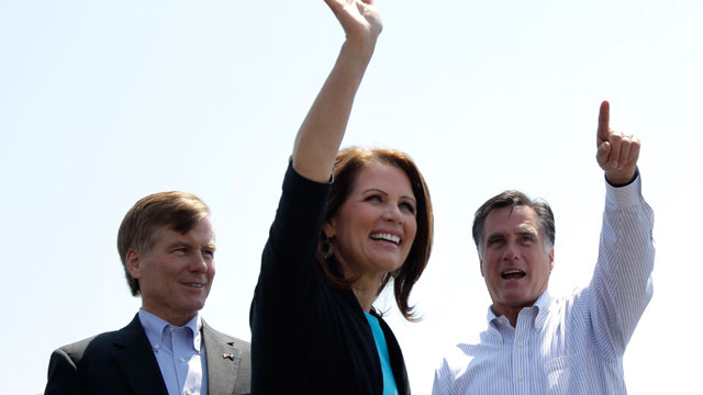 PHOTO: Republican presidential candidate, former Massachusetts Gov. Mitt Romney, right, Rep. Michele Bachmann, R-Minn., and Virginia Gov. Bob McDonnell, arrive at a campaign stop in Portsmouth, Va., May 3, 2012.