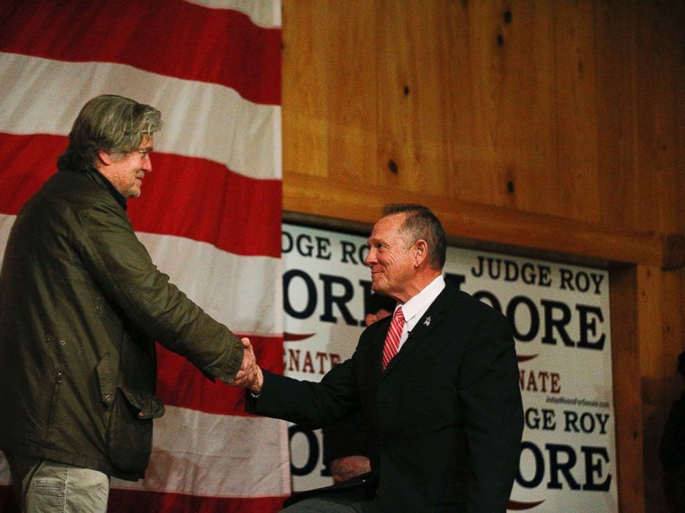 PHOTO: Steve Bannon, left, introduces U.S. senatorial candidate Roy Moore, right, during a campaign rally, Tuesday, Dec. 5, 2017, in Fairhope, Ala.