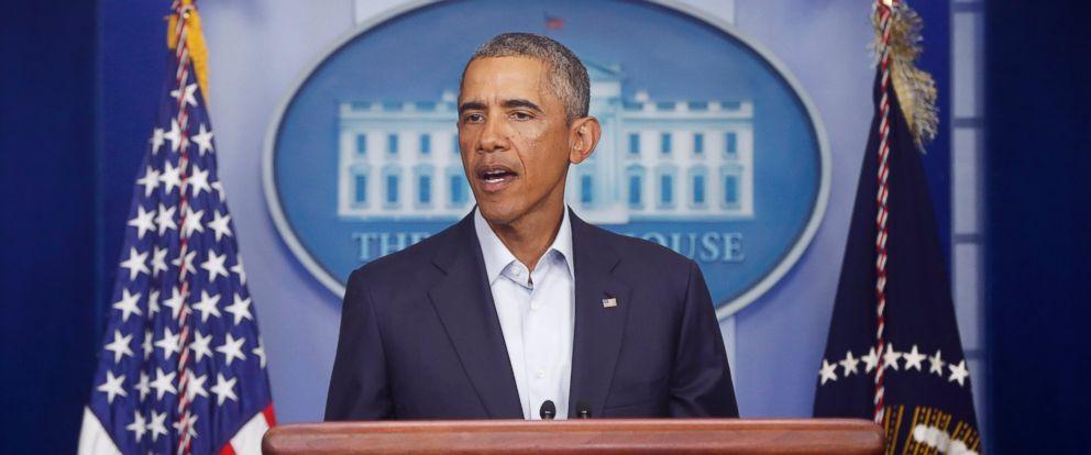 PHOTO: President Barack Obama speaks in the White House in Washington on Aug. 18, 2014.