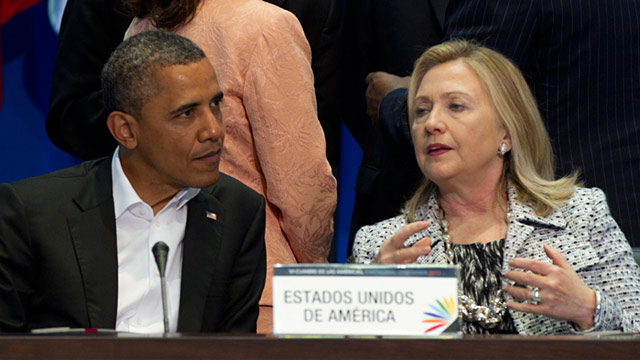 PHOTO: President Obama and Hillary Clinton