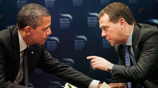 PHOTO: President Barack Obama, left, chats with Russian President Dmitry Medvedev during a bilateral meeting at the Nuclear Security Summit in Seoul, South Korea, March, 26, 2012.