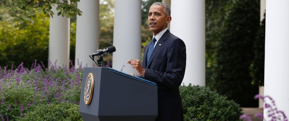 PHOTO: President Barack Obama speaks in the Rose Garden of the White House in Washington, Wednesday, Oct. 5, 2016, where he welcomed the news that the Paris agreement on climate change will take effect in a month.