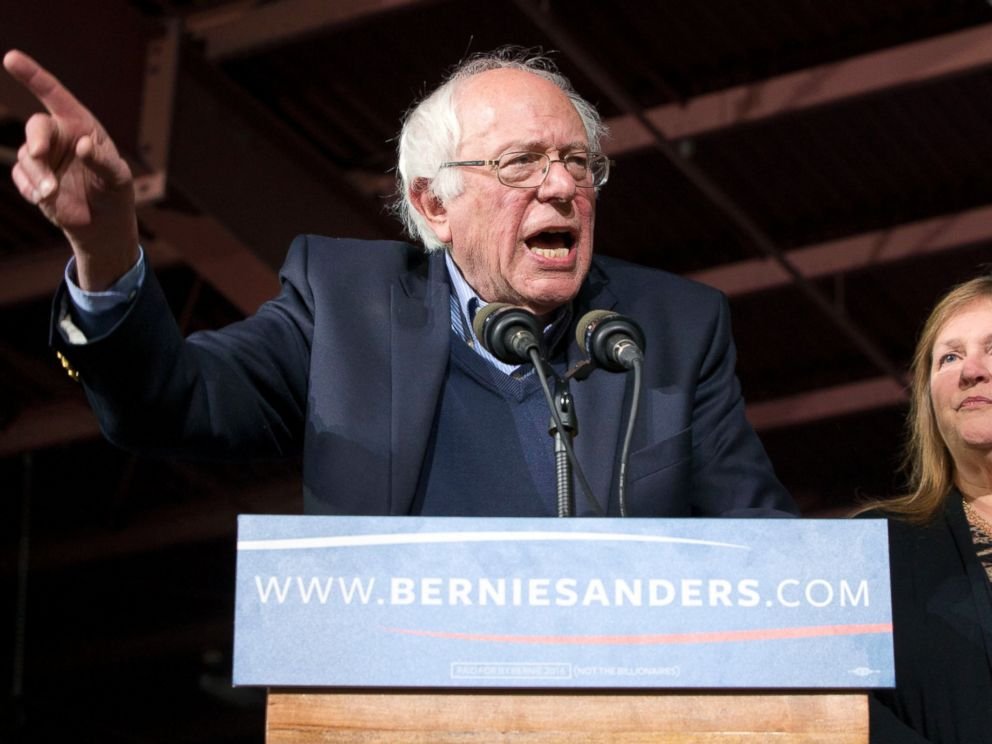 PHOTO: Democratic presidential candidate Sen. Bernie Sanders speaks during a primary night rally in Essex Junction, Vt., on March 1, 2016, on Super Tuesday.