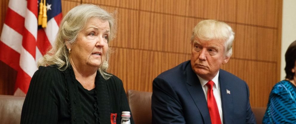 PHOTO: Republican presidential candidate Donald Trump listens as Juanita Broaddrick, who has accused former President Bill Clinton of sexual assault, speaks before the second presidential debate, Oct. 9, 2016, in St. Louis.