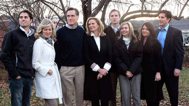 PHOTO: From left are son Craig Romney and his wife Mary; Mitt with wife Ann; son Ben Romney and his wife Andelynne; and son Tagg Romney with wife Jenn. The Romney family gathered for a photo op, Nov. 25, 2007 in Newport, N.H.