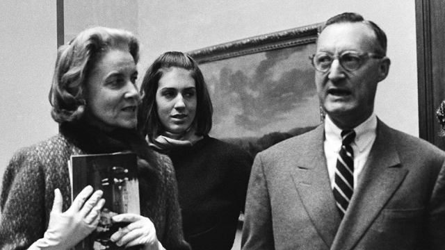 PHOTO: In this file photo, Paul Mellon, of Virginia, his wife Bunny Mellon and stepdaughter Eliza Lloyd are shown at the Royal Academy in London on Dec. 11, 1964.