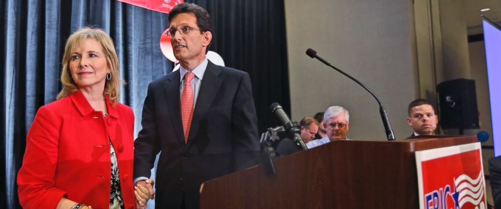 PHOTO: House Majority Leader Eric Cantor, R-Va., and his wife, Diana, leave the stage after his concession speech in Richmond, Va., Tuesday, June 10, 2014.