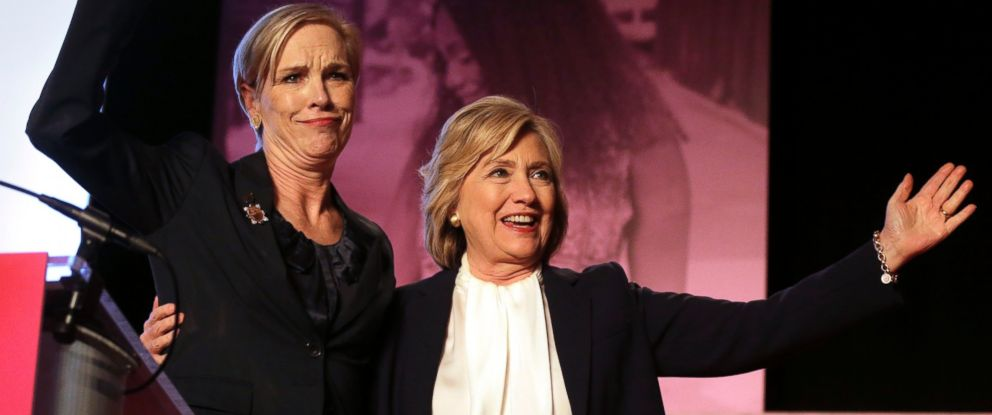 PHOTO: Democratic presidential candidate Hillary Clinton stands with CecileRichards, Planned Parenthoods president, during an event on Jan. 10, 2016, in Hooksett, N.H., held by the group to publicly endorse Clinton.