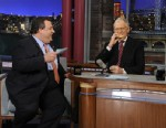 PHOTO:In this photo released by CBS Broadcasting, New Jersey Gov. Chris Christie, left, chats with David Letterman, right, during his first visit to CBS? ?Late Show with David Letterman,? on Monday, Feb. 4, 2013 in New York.