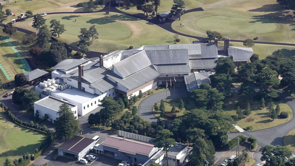 Photo taken Nov. 2, 2017, from a Kyodo News helicopter shows the clubhouse of Kasumigaseki Country Club in Kawagoe, Saitama Prefecture, where U.S. President Donald Trump is scheduled to play a round of golf with Japanese Prime Minister Shinzo Abe and PGA Tour player Hideki Matsuyama on Nov. 5.