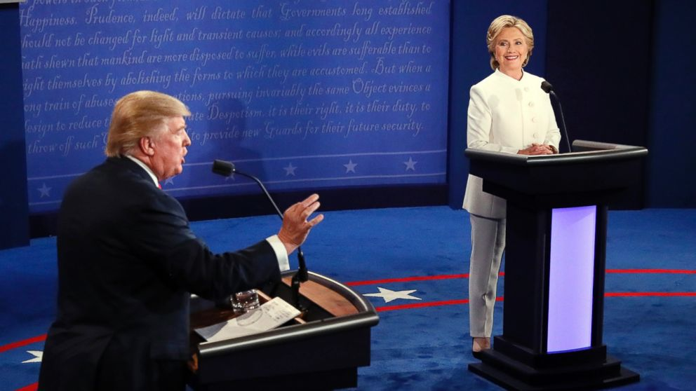 Donald Trump debates Hillary Clinton during the third presidential debate at UNLV in Las Vegas,  Oct. 19, 2016.