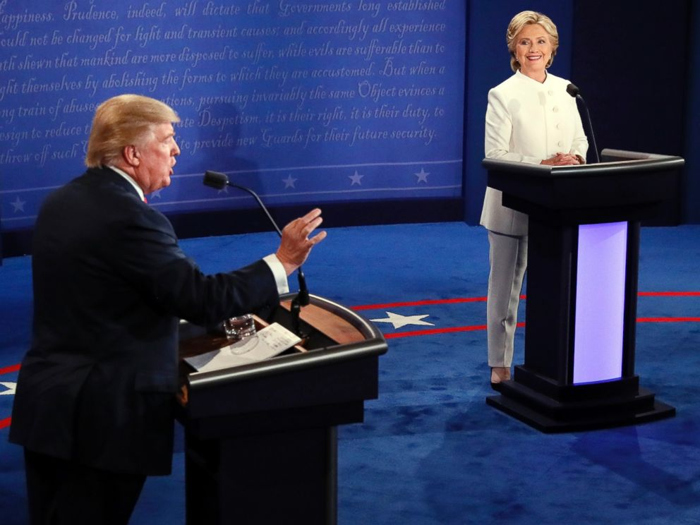 PHOTO: Donald Trump debates Hillary Clinton during the third presidential debate at UNLV in Las Vegas, Oct. 19, 2016.