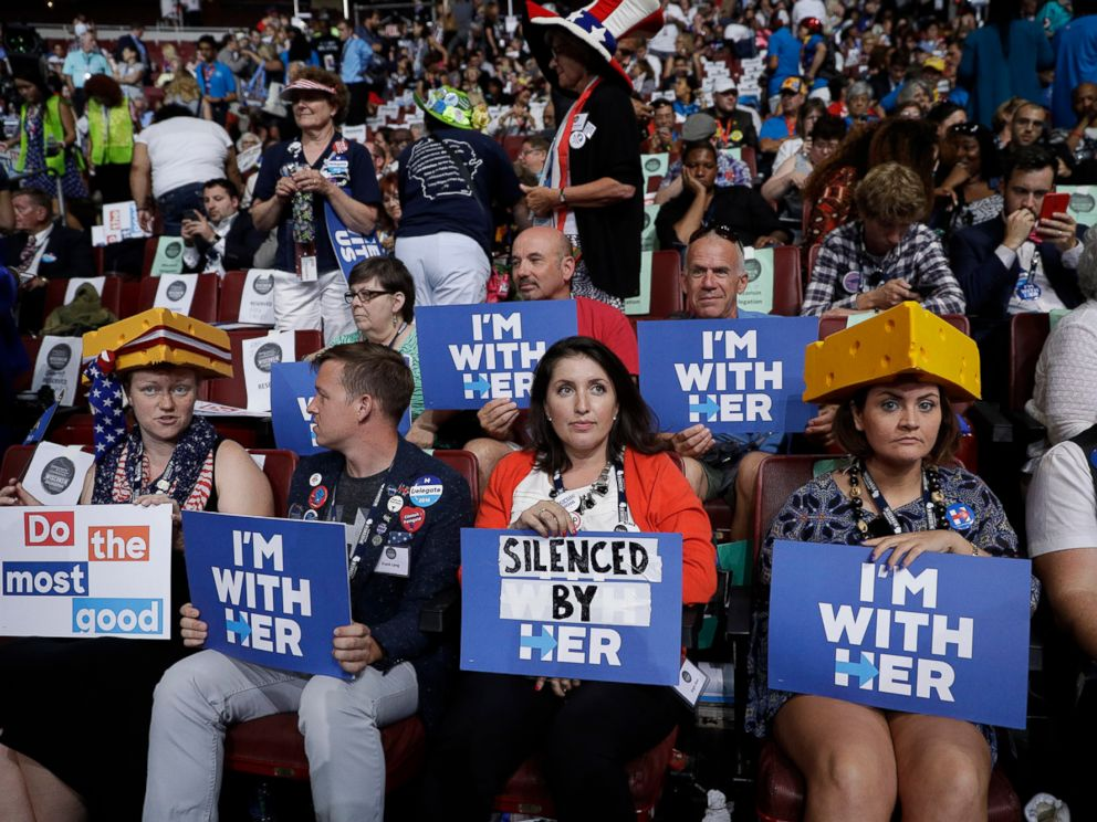 PHOTO: Wisconsin delegates take their seats before the start of the second day session of the Democratic National Convention in Philadelphia, July 26, 2016.