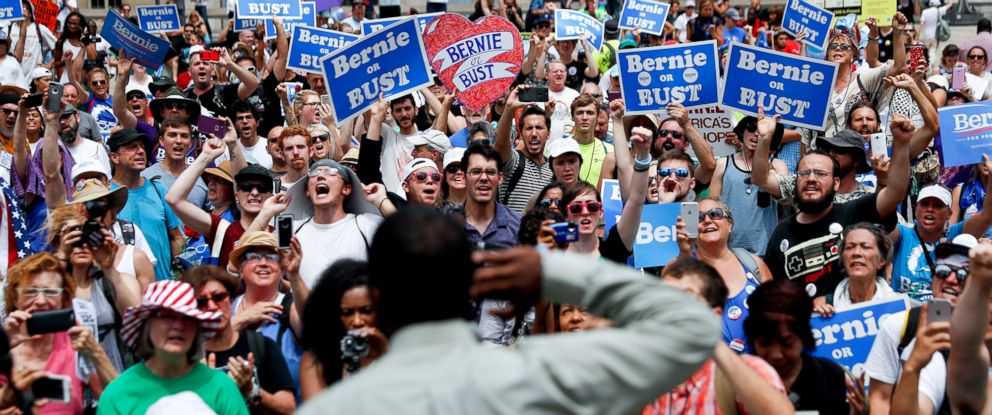 PHOTO: Supporters of Sen. Bernie Sanders yell during a rally near City Hall in Philadelphia, July 26, 2016, during the second day of the Democratic National Convention.