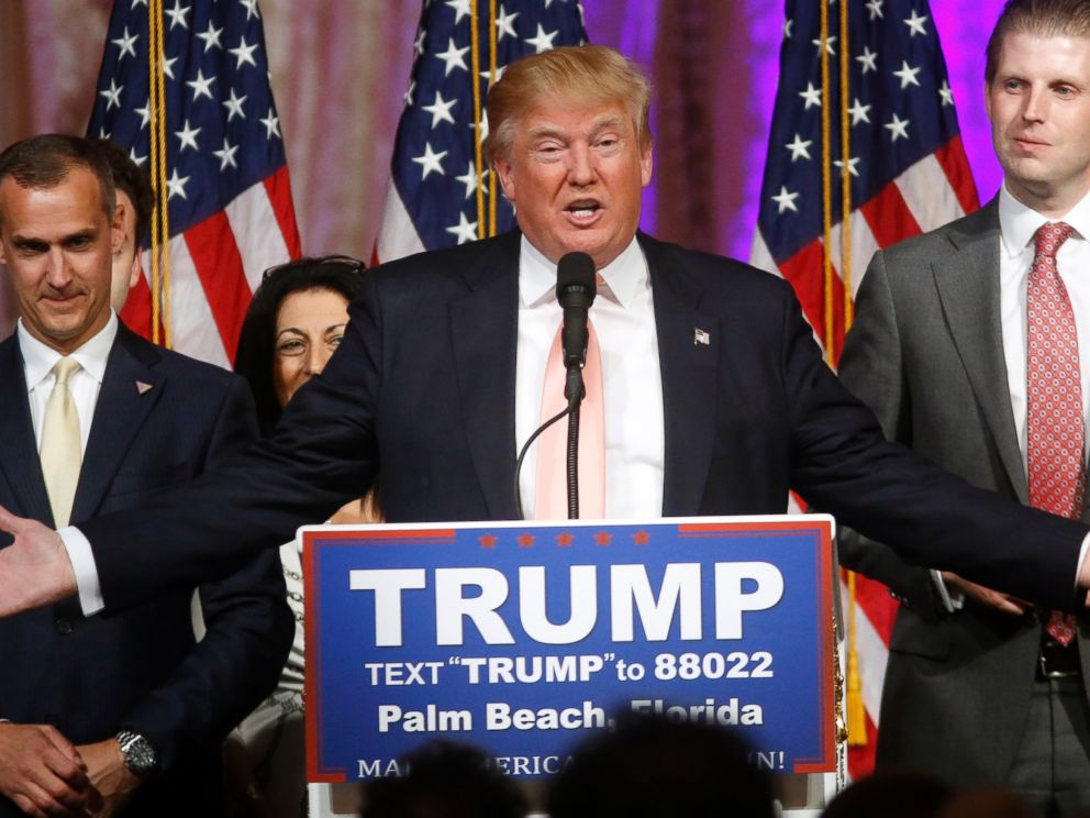 PHOTO: Republican presidential candidate Donald Trump speaks to supporters at his primary election night event at the Mar-a-Lago Club in Palm Beach, Fla., on March 15, 2016.