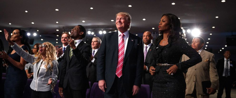 PHOTO: Republican presidential candidate Donald Trump looks on during a church service at Great Faith Ministries, Sept. 3, 2016, in Detroit.
